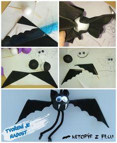 Fotonávod - netopýr černý filcový. Kulička potažená pěnovkou a křídla filc, nožičky z chlupatého drátku :) Vyzkoušejte!