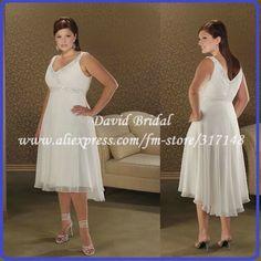 Fashion Straight Chiffon Tea-length Short Plus Size Wedding Dress TWD020 $139.00