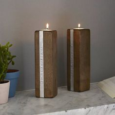 two personalised wooden tealight candle holders by warner's end | notonthehighstreet.com