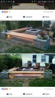 Bench to do around back of fire pit area Replacement Canopy, Pergola Kits, Camping Equipment, Outdoor Spaces, Outdoor Seating, Outdoor Decor, Home Remodeling, Furniture Design, Diy Furniture