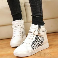 f4e71d3671a54 Shop Comfortable Split Joint Leopard Women Shoes with Zipper on sale at  Tidestore with trendy design and good price. Come and find more fashion  Sneakers ...