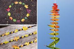 """Naturmaterialien unter freiem Himmel nennt man Land Art. Solche """"Kunstwerke"""" sind vergänglich - man kann sie nicht mitnehmen. Auch die fein gelegten Blätterbilder werden kurz oder lang vom Wind und Wetter auseinander gefegt werden (...hoffentlich haben wir's fotografiert...)"""
