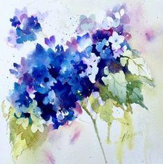 Hydrangee : Watercolor : Pamela Harnois