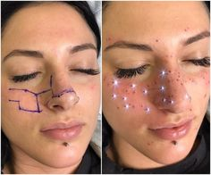 Freckles have been a huge trend in beauty this year. There& been stick-on freckles and makeup freckles, but the latest take on the freckle trend goes above and beyond — literally. AstroFrecks, which are the creation of cosmetic tattoo artist Jessica… Sommersprossen Tattoo, Form Tattoo, Shape Tattoo, Get A Tattoo, New Tattoos, Body Art Tattoos, Finger Tattoos, Star Face Tattoo, Birthmark Tattoo