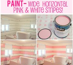 The Busy Budgeting Mama: VLOG: IKEA Big Girl Room Reveal- $500 IKEA GIVEAWAY!    Pink and white stripes for Kait's room.