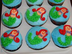 I searched high and low for an idea on mermaid cupcakes that where hand decorated and could not find, I was inspired to make these by my 8 year old daughter who suggested what she should look like.  All buttercream frosting, used leaf tip for tail, they were a hit!
