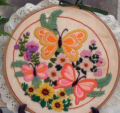 Fluttering Butterflies Crewel Embroidery Handmade Framed Folkart