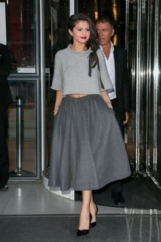 Luxe Look for Less | Get this Selena Gomez two tone crop top and grey midi skirt look for less | The Luxe Lookbook