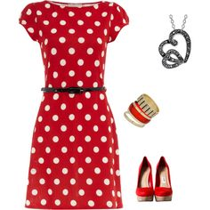 Red Summer Work Outfit, created by renee-besaw-kingston on Polyvore