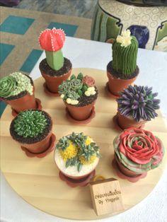 Garden Cupcakes, Cactus Cupcakes, Succulent Cupcakes, Cactus Cake, Cute Cupcakes, Cupcake Cookies, Flower Pot Cake, Friends Cake, Beach Cakes