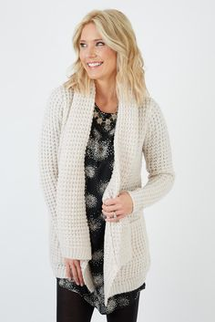Waffle Knit Cozy Open Cardy | The #1 boutique for moms! $5 Flat Rate Shipping + FREE shipping on all orders over *$50. #Evereve