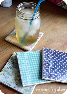 Coasters: Made with Tiles,  Mod Podge,  Felt or Cork for underside,  Polyurethane spray for finishing coat,  Patterned paper