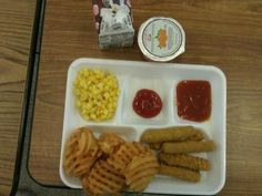 Ashleigh - This lunch is: Mozzarella sticks, Corn, Fries, Chocolate Milk and Frozen Peaches- our kids deserve better!