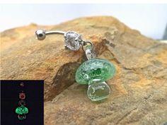 Glow In the Dark Green Glass Mushroom Belly Ring Body Jewelry 14ga