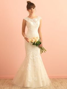 allure romance 2864, vintage wedding dress, lace wedding dress, high neckline