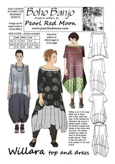 A loose fitting Top or Dress with wide, high boat neck. The side seams dip at the hemline to V points The pattern includes the option for short or three quarter length sleeves and inset pockets on the side seams.Pattern is published with 3 sizes in the range 12 -22 (Bust 95 - 125 cm, 37 ...
