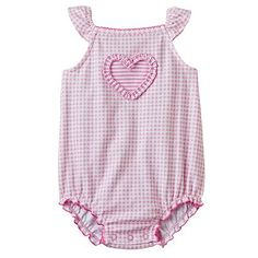 First Moments Heart Gingham Creeper - Baby