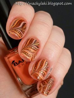 Autumn fall inspired nail art designs trends ideas for girls 2013 say happy thanksgiving with this gorgeous watermarble nail polish manicure prinsesfo Image collections