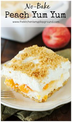 {Easy} No-Bake Peach Yum Yum, Desserts, No-Bake Peach Yum Yum ~ A classic layered no-bake dessert with a graham cracker crust and peach pie filling sandwiched between two creamy layers. Peaches And Cream Dessert, Peach Cream Pies, Peaches And Cream Recipe, Cheesecake Recipe With Premade Crust, Cheesecake Recipes, Peach Cheesecake, Cheesecake Bites, Homemade Cheesecake, Classic Cheesecake