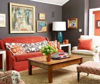 Gray + orange boho chic seating area
