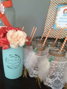 Mason jar drinks at a Brave birthday party! See more party ideas at CatchMyParty.com!