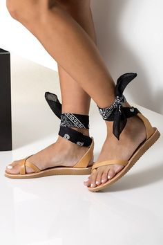 Leather Sandals Women Ankle Tie sandals with low wedge with a