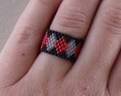 Nothin' but SEED BEADs Ring - Harlequin or Diamond Pattern