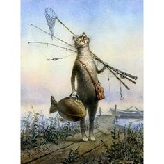 Frameless Cat & Fish DIY Painting By Numbers Kits - Oil Painting Modern Wall Art on Canvas 40x50cm