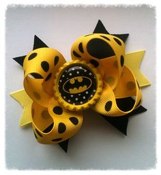 Hey, I found this really awesome Etsy listing at http://www.etsy.com/listing/160032682/baby-boutique-mini-bow-batman-stacked