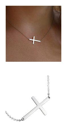 2017 Horizontal Men Cross Necklaces Pendants 316L Stainless Steel Chain Necklace Pendant Women Fashion Collar de Cadena Jewelry
