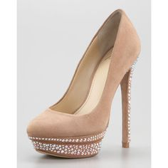Women's B Brian Atwood Francoise Crystal-Detail Suede Platfo...