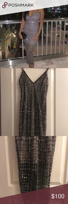 Sequined midi dress My favorite our o my closet... i really don't wanna give this up but I'll probably never wear again :( anyways gorgeous grey midi dress from misguided! Beautiful heading that sparkles on the dress. Def fit for Christmas or New Years or any formal event! Worn once. Size is 4. Has few flaws shown in picture. Some of the beading/thread has fallen off but not noticeable when you wear it! Only up close! WILL DO FOR $80 ON PP Missguided Dresses Midi