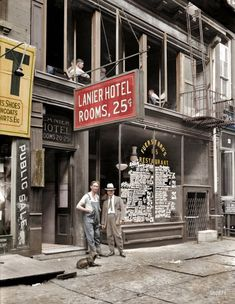 The Lanier Hotel & Fuerst Bros. Restaurant, 15 Bowery NYC  Colourisation Tuesday, July 5, 1921, by George Grantham Bain  Proprietors Alex and Sigmund Fuerst s New York City, opposite the old Bowery Theatre. The surrounding area in what is now Chinatown attracted residents and transient visitors at the lower end of the economic ladder, staying in lodging houses, or 'Flop House', where for 5 cents, one could literally 'flop over' in quarters about the size of a standard office cubicle.