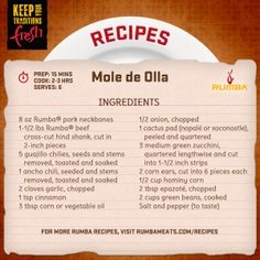 This amazing pork dish recipe is great for a cold night. It's hearty and full of flavor. Enjoy!  http://www.rumbameats.com/recipe/pork/mole-de-olla