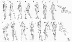 Here are some extremely useful pose guides made by Aomori over on deviantArt.  This is mostly just a reference for myself because I just lost these and couldn't remember where to find them, so I'm not going to bother tagging.  But I thought some of my followers could also possibly use these too.