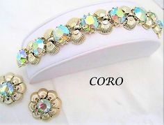 Excited to share the latest addition to my #etsy shop: Coro Bracelet Earrings - Aurora Borealis Set  - Vintage Green Rhinestone