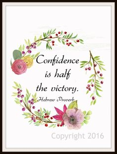 """Hebrew Proverb Art Print  """"Confidence is Half the Victory"""", Wall Decor, 8 x 10"""" Unframed Print, Motivational Quote"""