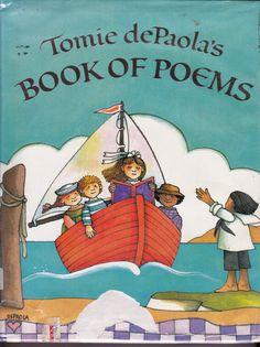 Tomie dePaola's Book of Poems vintage kids poetry book,  great illustrations, by RL Stevenson, Dickinson, Langston Hughes, Prelutsky etc. via Etsy.