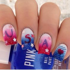 Fourth of July inspired Ombre nail art. A perfect nail art that comes with the flag colors and stars using Ombre style that highlights each nail.