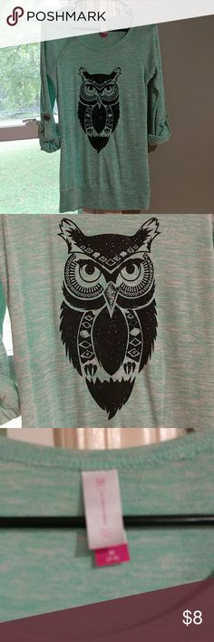 Teal owl sweater Teal sweater with a black sparkly owl on the front. Has buttons to roll up to a 3/4 sleeve or can wear as long sleeve too. Bought at Walmart, it is a smaller medium tho. Super cute and only tried on so pretty much brand new! Let me know if I can answer any questions! No Boundaries Sweaters Crew & Scoop Necks