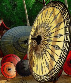 Whimsical Raindrop Cottage~beautiful umbrellas
