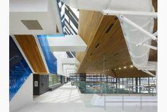Regent Park's splashy new aquatic centre: Hume Pool Bar, My Pool, Toronto Architecture, Toronto Condo, Airport Design, Splash Park, Wood Ceilings, Architectural Digest, Skylight