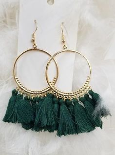 Tassel Fabric Bohemian Hoop Earrings Green