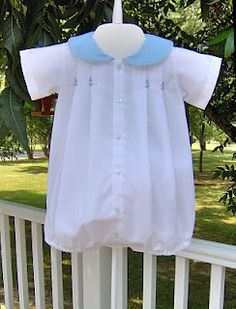 Creations By Michie` Blog: pattern #105. Love the blue anchors embroidered on the pleats.