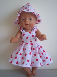 DOLLS CLOTHES TO FIT 43CM BABY BORN DOLL WHITE/RED HEARTS SUMMER OUTFIT