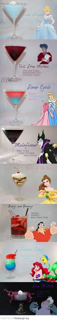 Disney Princesses inspired cocktails