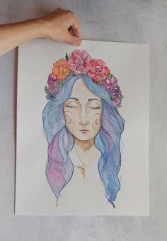 Durmiente - Acuarela y tinta sobre papel