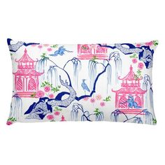 The Carmen Collection Chinoiserie pillows birds pagodas Plywood Furniture, Diy Furniture, Hollywood Regency, Kitsch, Chinoiserie Fabric, Willow Pattern, Lounge, Outdoor Fabric, Outdoor Material