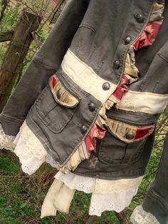 the new fashion stream : crustpunk DIY undergarment boho romantix pixie doll sweet ghost nomad postprotest retro steampunk goth - the end of Modernity Moda Fashion, Diy Fashion, Fashion Outfits, Cardigan Blazer, Military Style Jackets, Military Jacket, Jeans, Altered Couture, Altering Clothes