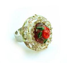 Rosering, håndlaget glass og håndlaget sølv Engagement Rings, Glass, Etsy, Jewelry, Enagement Rings, Wedding Rings, Jewlery, Drinkware, Bijoux